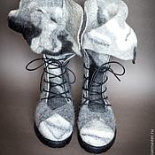 """Обувь ручной работы. Ярмарка Мастеров - ручная работа Ботинки """"Черно-белые. Длинные языки"""". Handmade."""