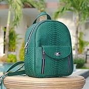 Сумки и аксессуары handmade. Livemaster - original item Green Velvet Python skin backpack. Handmade.