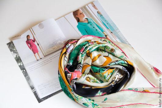 """Шитье ручной работы. Ярмарка Мастеров - ручная работа. Купить Шёлковый платок Salvatore Ferragamo """"Марокканский"""". Handmade. Платок"""