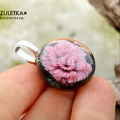 Украшения manualidades. Livemaster - hecho a mano Rosa rosa colgante lente lampwork-flor de cristal. Handmade.