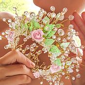 """Свадебный салон ручной работы. Ярмарка Мастеров - ручная работа Свадебная корона-диадема """"Розовый сад"""". Handmade."""
