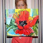 """Картины и панно ручной работы. Ярмарка Мастеров - ручная работа 128. Картина маслом """"Мак"""" 35 на 30 см. Handmade."""