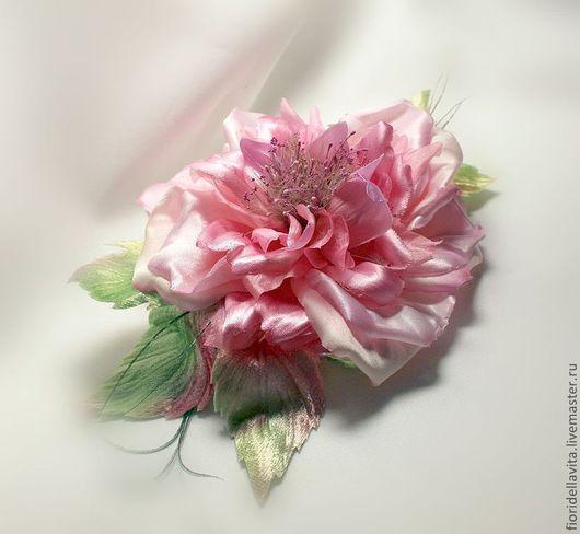 """Броши ручной работы. Ярмарка Мастеров - ручная работа. Купить Цветы из ткани. """"Иранская роза"""". Handmade. Шелковая роза"""