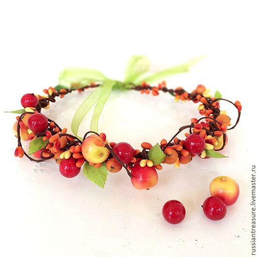 """Диадемы, обручи ручной работы. Ярмарка Мастеров - ручная работа. Купить Веночек на голову """"Яблочно-вишневый сад"""". Handmade. Оранжевый"""
