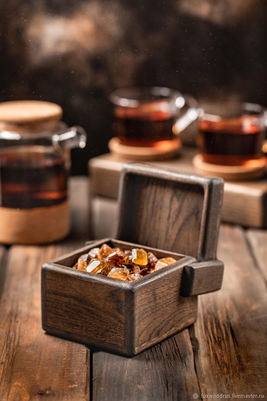 Dark oak storage box ' Cube', Sugar Bowls, Moscow,  Фото №1