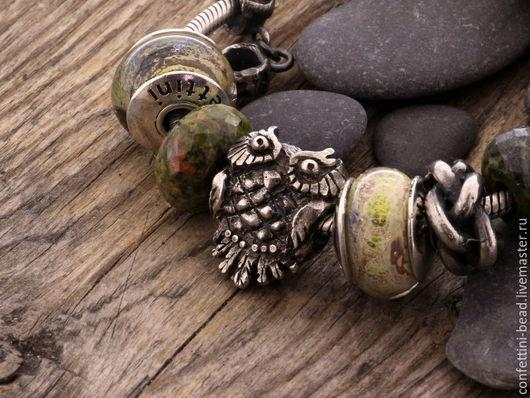 """Браслеты ручной работы. Ярмарка Мастеров - ручная работа. Купить """"Сова"""" серебряная бусина для браслетов. Handmade. Серебряный, серебряная подвеска"""