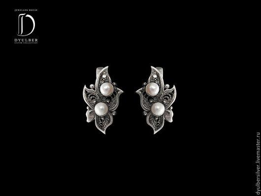 Серьги ручной работы. Ярмарка Мастеров - ручная работа. Купить Серьги в серебряной филиграни (модель ФД33). Handmade.