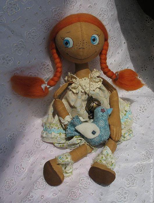 Куклы тыквоголовки ручной работы. Ярмарка Мастеров - ручная работа. Купить Кукла тонированная тыквоголовая Рыжуля. Handmade. Кукла