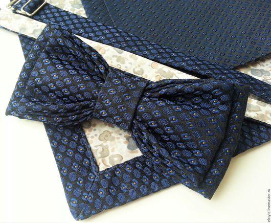 """Комплекты аксессуаров ручной работы. Ярмарка Мастеров - ручная работа. Купить Комплект """"Индиго"""": галстук-бабочка + платочек-паше. Handmade."""