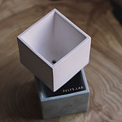 Кашпо ручной работы. Ярмарка Мастеров - ручная работа Бетонный горшок кашпо Куб белый. Handmade.