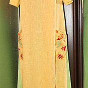 """Одежда ручной работы. Ярмарка Мастеров - ручная работа Витражи"""": льняное платье с вышивкой. Handmade."""