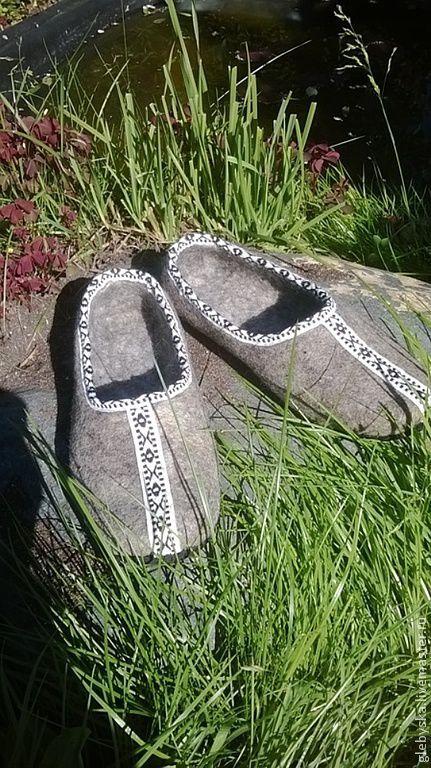 """Обувь ручной работы. Ярмарка Мастеров - ручная работа. Купить Тапочки """"Орнамент"""". Handmade. Серый"""