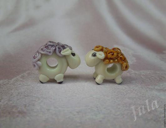 Для украшений ручной работы. Ярмарка Мастеров - ручная работа. Купить Бусина пандора Овечка. Handmade. Бледно-сиреневый, овечка