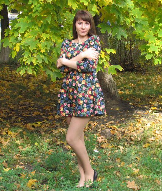 Платья ручной работы. Ярмарка Мастеров - ручная работа. Купить Цветочное платье. Handmade. Черный, платье по фигуре, короткое платье