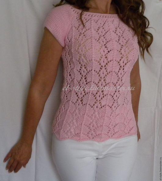 Кофты и свитера ручной работы. Ярмарка Мастеров - ручная работа. Купить нежно-розовый пуловер. Handmade. Бледно-розовый