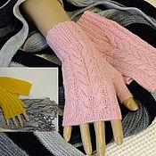 Аксессуары ручной работы. Ярмарка Мастеров - ручная работа Митенки вязаные нежно-розовые; желтые (канарейка). Handmade.