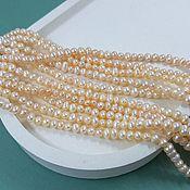 Материалы для творчества handmade. Livemaster - original item Thread 18 cm Natural pearls approx. 4 mm peach (5438). Handmade.