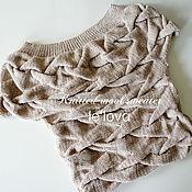 Одежда ручной работы. Ярмарка Мастеров - ручная работа Джемпер ручной вязки с косами серо-бежевого цвета. Handmade.