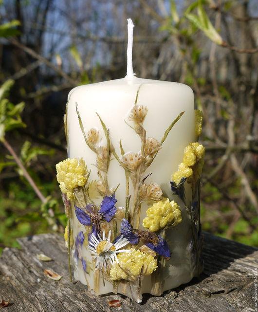 """Свечи ручной работы. Ярмарка Мастеров - ручная работа. Купить Свеча """"Русское поле"""". Handmade. Комбинированный, свеча с сухоцветами, ромашка"""