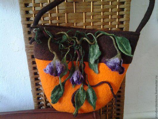 Женские сумки ручной работы. Ярмарка Мастеров - ручная работа. Купить валяная сумка. Handmade. Оранжевый, сумка женская