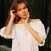 Одежда handmade. Livemaster - original item White blouse with creamy lace.. Handmade.