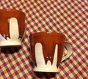Посуда ручной работы. Ярмарка Мастеров - ручная работа Две чашечки с котами.. Handmade.