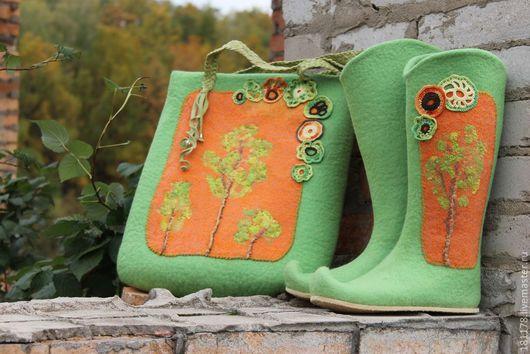 """Обувь ручной работы. Ярмарка Мастеров - ручная работа. Купить Валенки, сумка и клатч """"Феечка собралась в дорогу"""". Handmade."""
