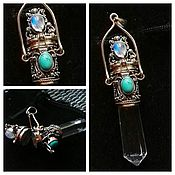 Украшения handmade. Livemaster - original item Gao pendant with crystal rhinestone. the stones are turquoise and ocular. Handmade.