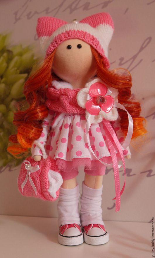 Коллекционные куклы ручной работы. Ярмарка Мастеров - ручная работа. Купить Текстильная куколка-малышка Лизка. Handmade. Розовый, рыжеволосая