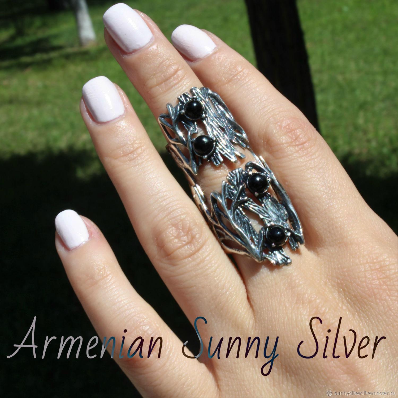 Двойное кольцо Кора Дерева из серебра 925 пробы на весь палец – купить на Ярмарке Мастеров – M6ZZGRU | Кольцо на весь палец, Ереван