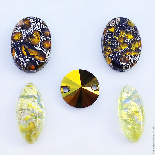 """Для украшений ручной работы. Ярмарка Мастеров - ручная работа. Купить Винтажный набор: кабошоны, стразы, кристаллы """"Gold+Bronze"""". Handmade."""