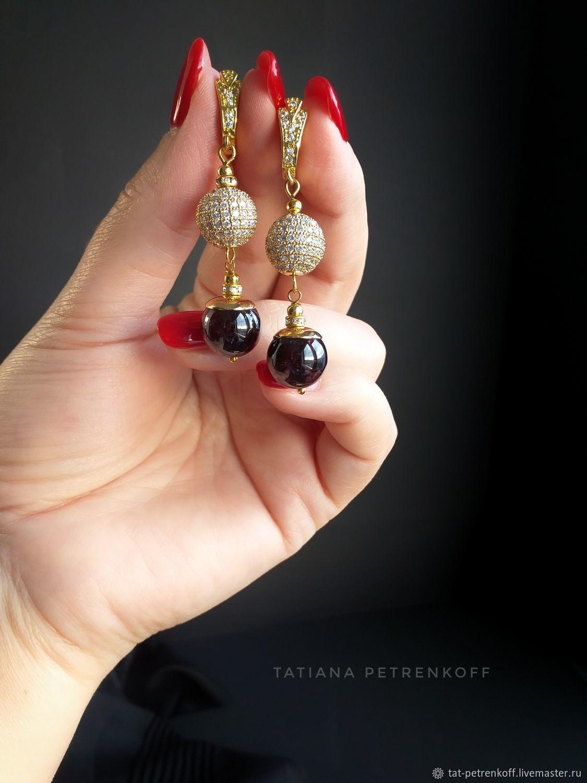 Almandin garnet earrings ' Autumn kiss', Earrings, Moscow,  Фото №1