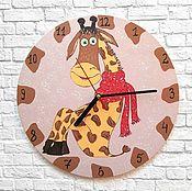 Для дома и интерьера handmade. Livemaster - original item Baby Giraffe clock, hand-painted wall clock. Handmade.