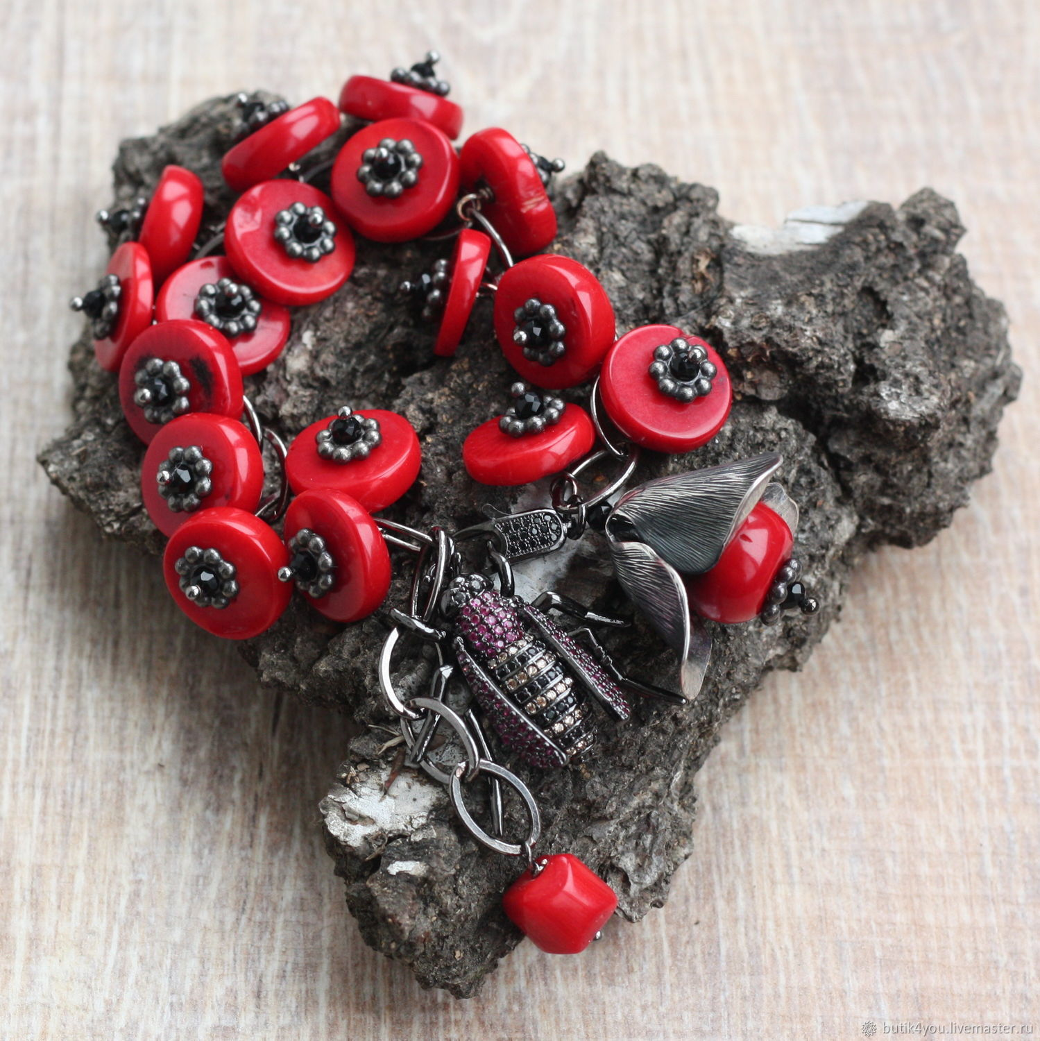 Bracelet 'Poppies' natural Coral,black spinel,accessories Italy lux, Bead bracelet, Moscow,  Фото №1