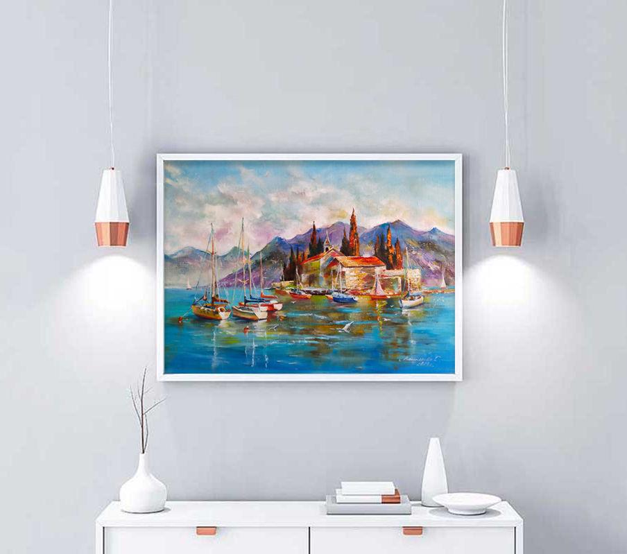 Морской пейзаж маслом на холсте, картина море, закат на море, Картины, Волгоград,  Фото №1