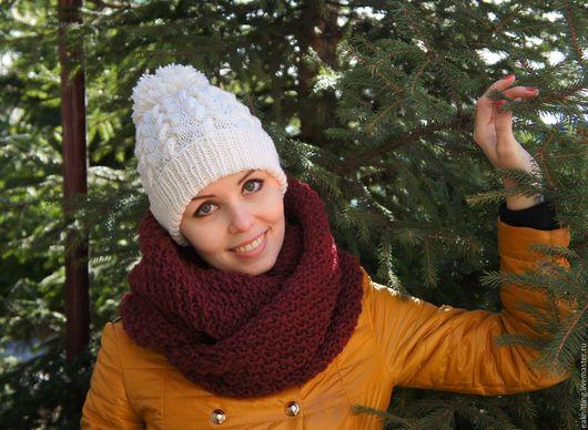 Шапки ручной работы. Ярмарка Мастеров - ручная работа. Купить Белая шапка с косами и помпоном. Handmade. Белый, шапка зимняя