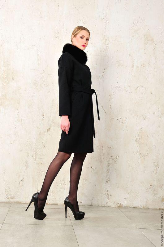 Верхняя одежда ручной работы. Ярмарка Мастеров - ручная работа. Купить Зимнее пальто. Handmade. Черный, шерстяной драп