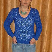 Одежда ручной работы. Ярмарка Мастеров - ручная работа Синий пуловер. Handmade.