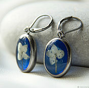 Украшения handmade. Livemaster - original item Blue titanium ring and earrings resin jewelry with real flowers. Handmade.