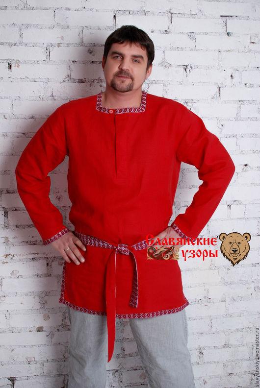 """Этническая одежда ручной работы. Ярмарка Мастеров - ручная работа. Купить Рубаха """"Алёша Попович"""". Handmade. Ярко-красный, из льна"""