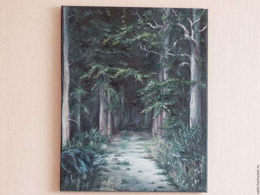 Пейзаж ручной работы. Ярмарка Мастеров - ручная работа. Купить Таинственный лес. Handmade. Комбинированный, картина, зеленый