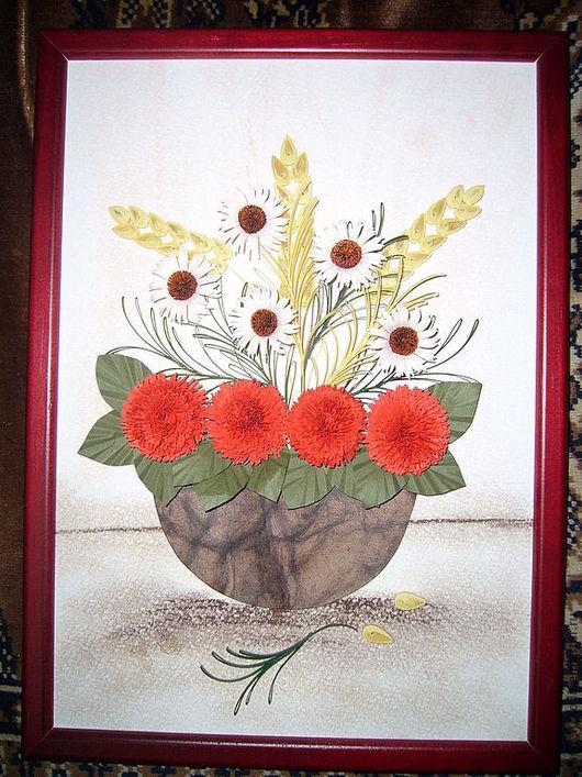 """Картины цветов ручной работы. Ярмарка Мастеров - ручная работа. Купить Квиллинг-картина """"Полевые цветы"""". Handmade. Цветы, подарок"""