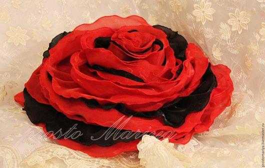 Текстиль, ковры ручной работы. Ярмарка Мастеров - ручная работа. Купить Красное и черное....... Handmade. Комбинированный, подушка-цветок, микровуаль