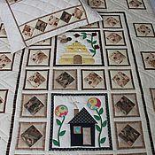 """Для дома и интерьера ручной работы. Ярмарка Мастеров - ручная работа Лоскутное покрывало """"Домики"""". Handmade."""