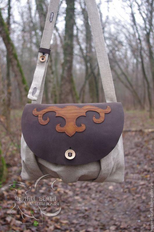 Женские сумки ручной работы. Ярмарка Мастеров - ручная работа. Купить Сумка из холста и кожи. Handmade. Комбинированный, Кожаная сумка