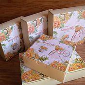 Материалы для творчества ручной работы. Ярмарка Мастеров - ручная работа Коробочка летняя с подсолнухами (5 размеров). Handmade.