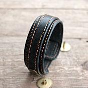 Украшения ручной работы. Ярмарка Мастеров - ручная работа Браслет кожаный затяжной черный. Handmade.