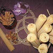 Свечи ручной работы. Ярмарка Мастеров - ручная работа Свеча из вощины, с корицей.. Handmade.