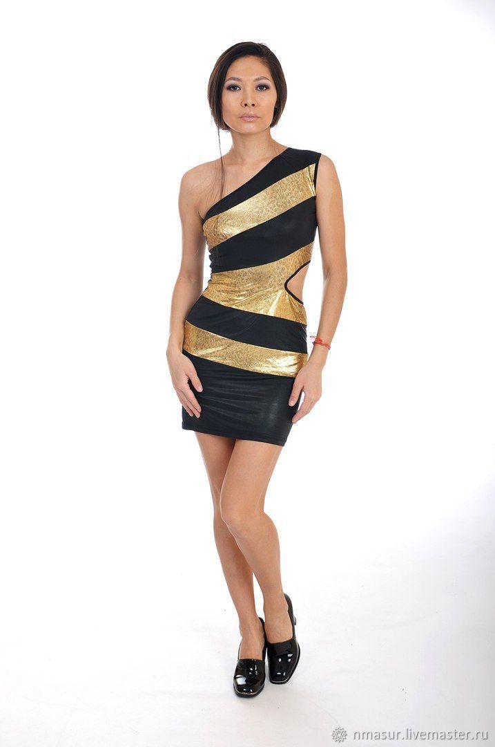 Knitted dress on one shoulder 'Golden Panther', Dresses, Novosibirsk,  Фото №1