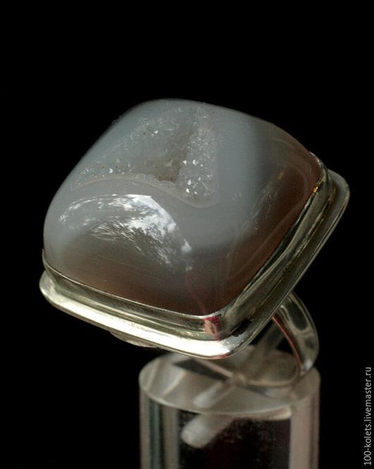 Кольца ручной работы. Ярмарка Мастеров - ручная работа. Купить Кольцо с агатом и кварцевой друзой. Handmade. Серый, натуральные камни